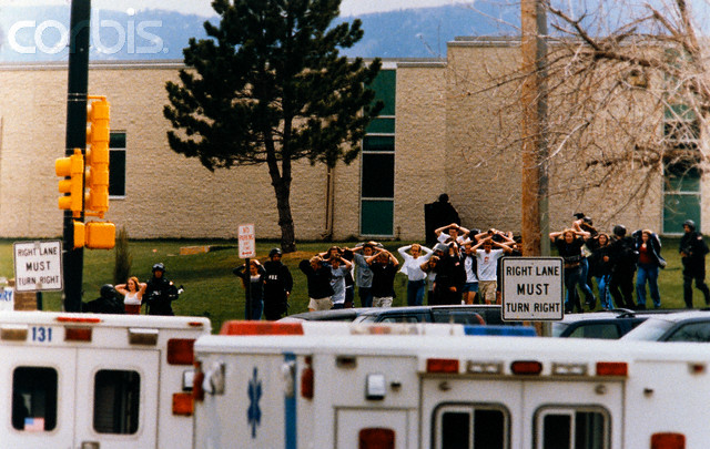20 Apr 1999, Littleton, Colorado, USA --- Original caption: Littleton, Colorado: Students run out of the Columbine High School as 2 gunmen went on a shooting spree killing fifteen, including themselves. --- Image by © Steve Starr/CORBIS